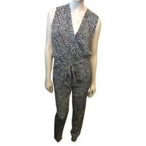 DVF black/white sleeveless jumpsuit